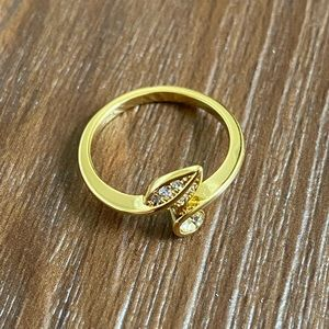 Gold plated CZ cubic zirconia leaf ring